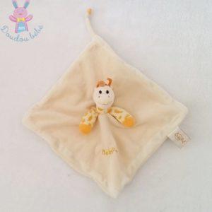 Doudou plat Girafe beige orange BABY NAT
