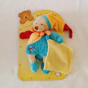 Doudou Ours bleu orange rouge mouchoir jaune BABY NAT