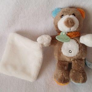 Doudou Ours marron mouchoir blanc collection Nature BABY NAT