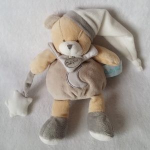 Doudou Ours gris taupe étoile lune luminescent BABY NAT