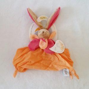 Doudou plat Lapin lange de coton rose et orange BABY NAT