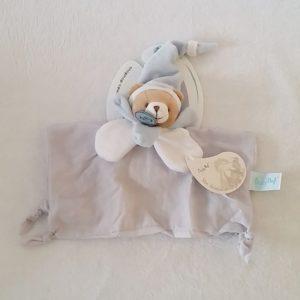 Doudou plat Ours lange de coton gris bleu et blanc BABY NAT