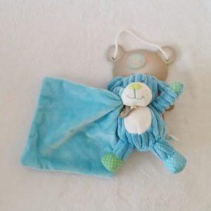 Doudou Chien bleu blanc mouchoir BABY NAT
