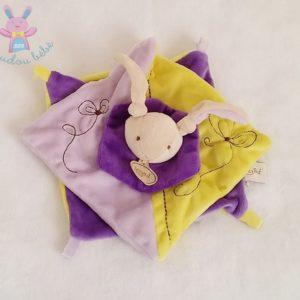 Doudou plat Lapin carrés jaune violet BABY NAT