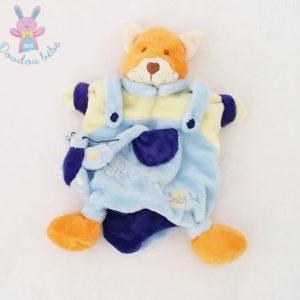 Doudou marionnette Renard bleu papillon BABY NAT