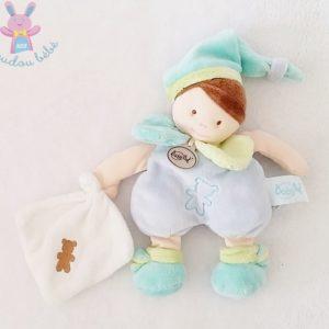 Doudou Garçon bleu mouchoir blanc Mes petites poupées BABY NAT