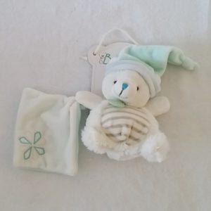 Doudou Ours blanc vert rayé mouchoir BABY NAT