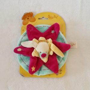 Doudou plat Lapin stars rond bleu et rose framboise BABY NAT