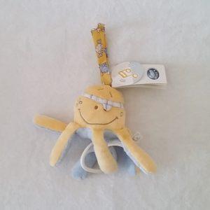 Doudou musical Pieuvre Calypso jaune bleu NOUKIE'S