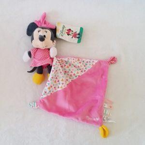 Doudou Minnie rose à pois mouchoir rose et triangles colorés DISNEY