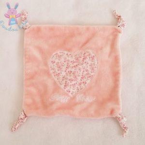 Doudou plat carré rose coeur liberty «Petit coeur»