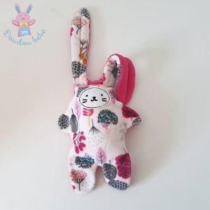 Doudou Lapin blanc et imprimé fleurs bleu rose CATIMINI