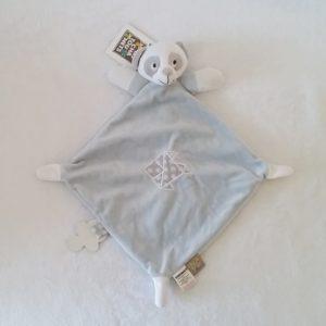 Doudou plat Panda bleu gris attache tétine LES CHATOUNETS
