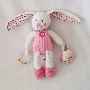Doudou Lapin rose blanc jouet d'éveil bébé NICOTOY