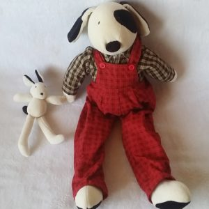 Doudou Chien Julius salopette rouge MOULIN ROTY