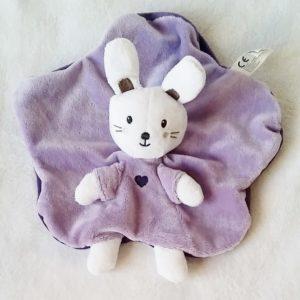 Doudou plat Lapin mauve violet blanc coeur NICOTOY