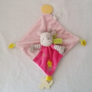 Doudou plat Vache rose poussin attache tétine dentition NICOTOY