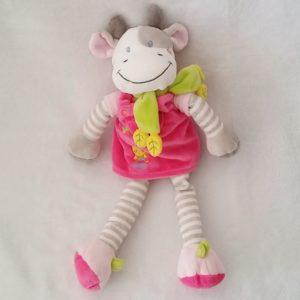 Doudou Vache robe rose poussin rayée écharpe verte 32 cm NICOTOY