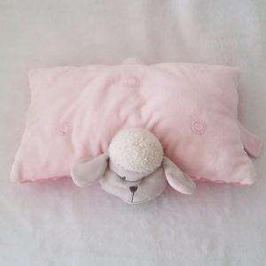 Doudou Mouton coussin rose gris et à pois NICOTOY