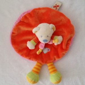 Doudou plat Ours rond orange rose rayé coeur NICOTOY