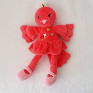 Doudou Oiseau rouge rose brodé coeurs NICOTOY