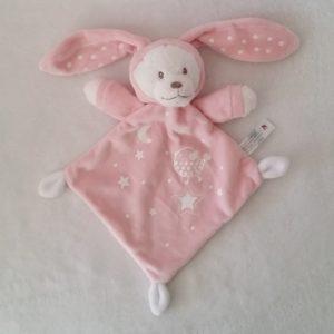 Doudou plat Ours déguisé en Lapin rose blanc NICOTOY SIMBA
