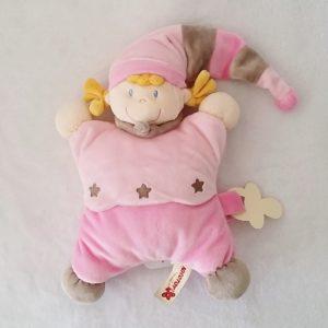 Doudou Poupée Lutin rose étoiles attache tétine NICOTOY