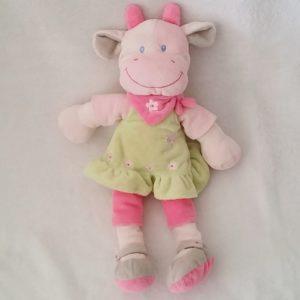 Doudou Vache verte rose robe foulard 32 cm NICOTOY