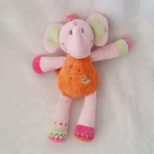 Doudou éléphant rose orange vert brodé oiseau NICOTOY