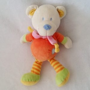 Doudou Ours orange jambes rayée cœur 25 cm NICOTOY