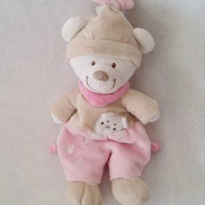Doudou Ours beige et rose bonnet 25 cm NICOTOY