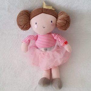 Doudou Poupée Princesse tulle rose couronne ORCHESTRA