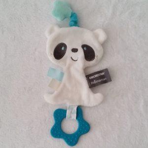 Doudou plat Panda bleu blanc dentition ORCHESTRA