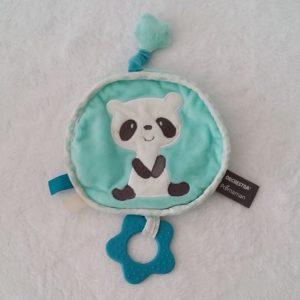 Doudou plat Panda rond bleu blanc dentition ORCHESTRA