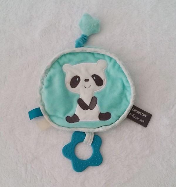 Doudou plat Panda bleu ORCHESTRA