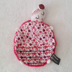 Doudou plat Tortue rose blanc oiseaux ORCHESTRA Prémaman