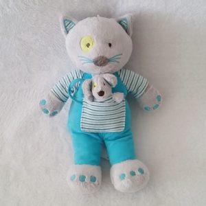 Doudou Chat avec souris gris bleu et rayé 27 cm OBAIBI