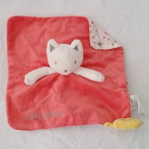 Doudou plat Chat rose oiseau jaune first friends OBAIBI