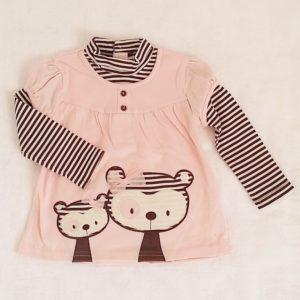 T-shirt rose et rayé marron bébé fille 18 MOIS