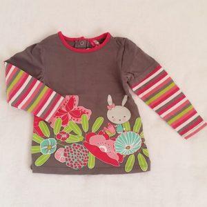 T-shirt gris rayé lapin fleurs bébé fille 18 MOIS ORCHESTRA