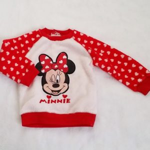 Sweat polaire Minnie rouge blanc bébé fille 18 MOIS DISNEY