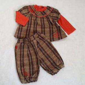 Ensemble haut carreaux marron saumon + Short bébé fille 18 MOIS CATIMINI