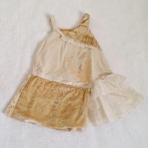 Robe bretelles velours écru bébé fille 18 MOIS ORCHESTRA