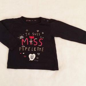 """T-shirt """"Je suis miss pipelette"""" bébé fille 24 MOIS"""