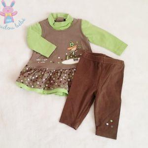Ensemble robe taupe vert + Legging bébé fille 3 MOIS