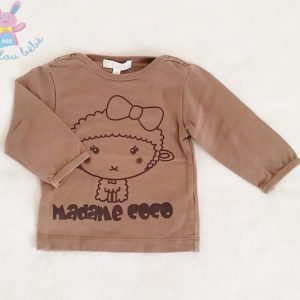 T-shirt Madame Coco marron bébé fille 3 MOIS