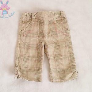Pantalon velours beige rose carreaux bébé fille 3 MOIS