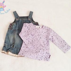 Robe jean + T-shirt mauve bébé fille 3-6 MOIS (62 cm) MEXX