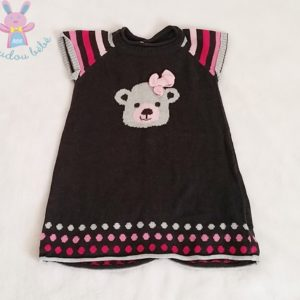 Robe mailles grise rayée ours bébé fille 3 MOIS ORCHESTRA