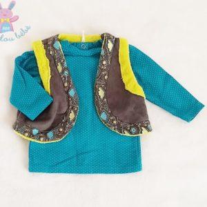 Ensemble T-shirt turquoise + Gilet bébé fille 3 MOIS ORCHESTRA